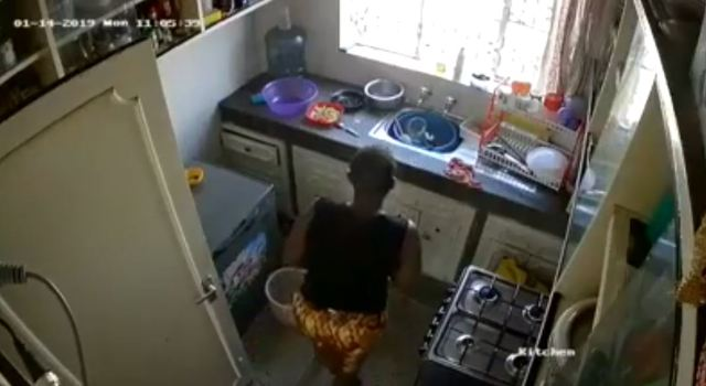 Housemaid caught on CCTV defecating in the Kitchen