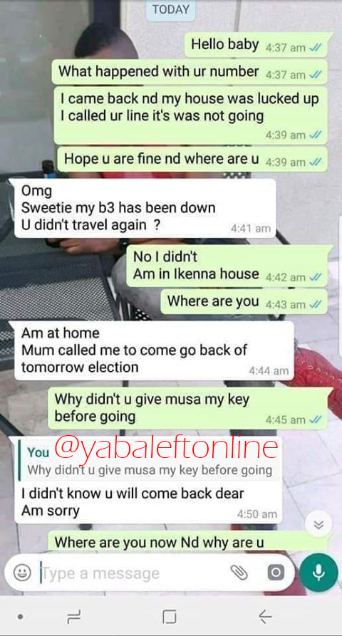 Nigerian Lady lies to her boyfriend that she was home, turns out she was at a hotel with another guy (Screenshots)