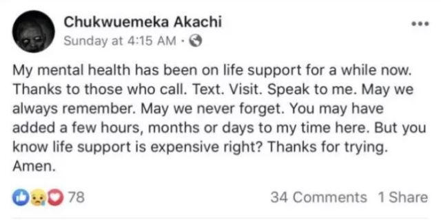 Chukwuemeka Akachi commits suicide