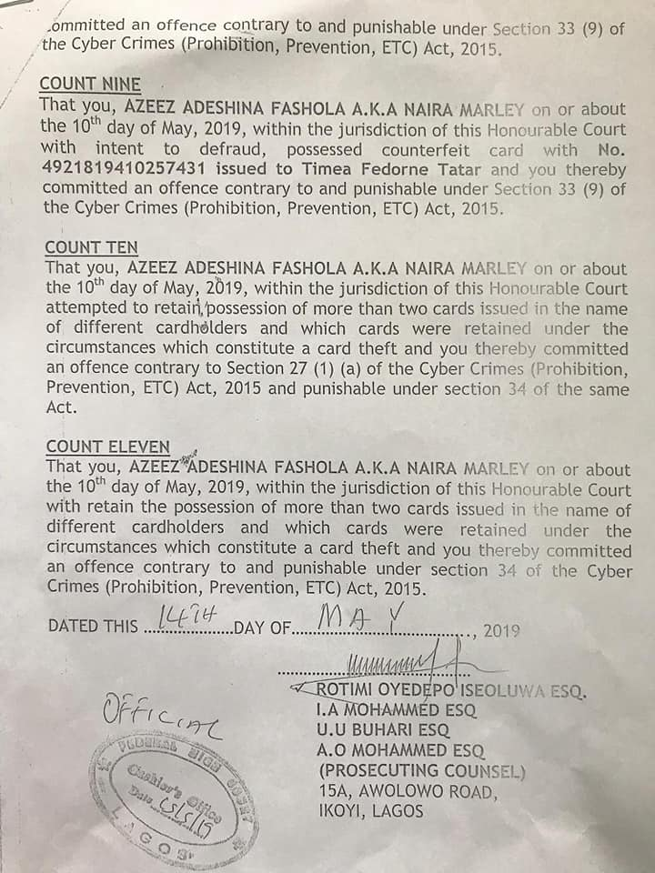 Naira Marley personally signs and collects his 'charge sheet' ahead of his arraignment in court on Monday. 5