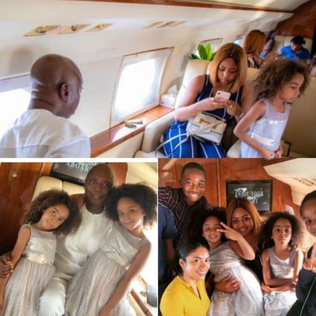 Regina Daniels poses with Ned Nwoko and her step-kids on private jet (Photos)