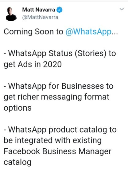 Whatsapp confirms status ads