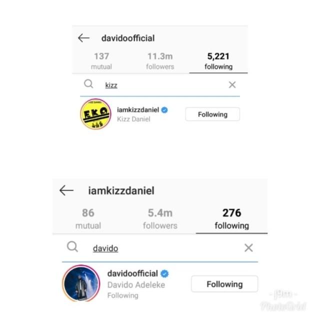 Davido Kizz Daniel Follow Each Other Back