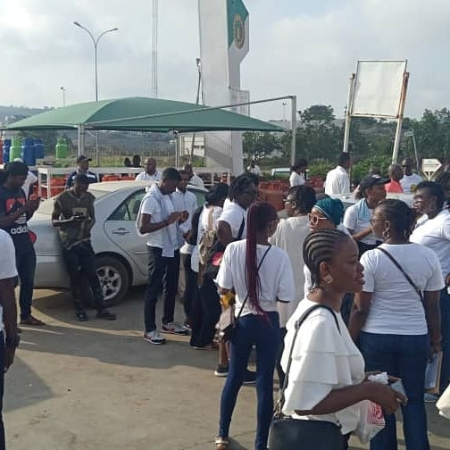 Photos + Video: Heavy security presence at COZA as Nigerians stage protest demanding the prosecution of Pastor Biodun Fatoyinbo.