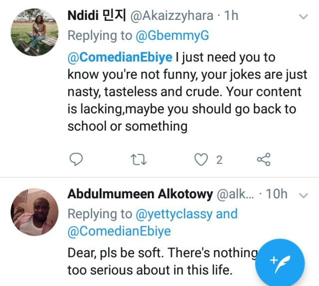 Comedian Ebiye dragged