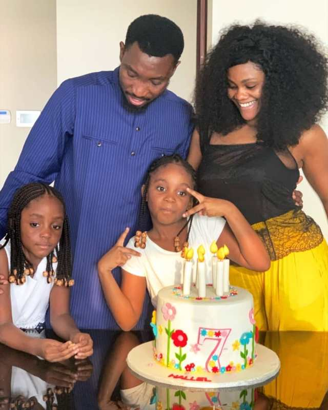 Timi Dakolo and wife celebrate with their daughter as she turns 7