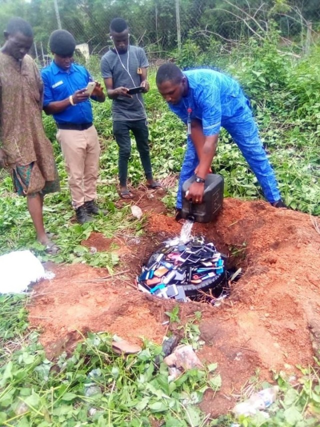 Exam malpractices: Management of Polytechnic  burns phones seized from students (Photos) 3