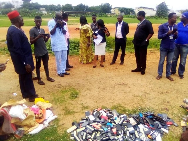 Exam malpractices: Management of Polytechnic  burns phones seized from students (Photos) 4