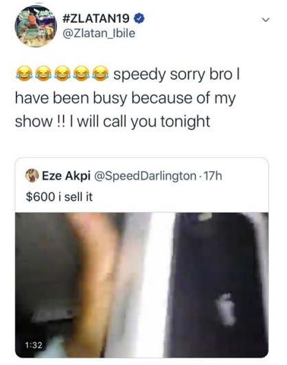 keep the phone, Zlatan Ibile responds as Speed Darlington plans to sell the iPhone 11 he gifted him