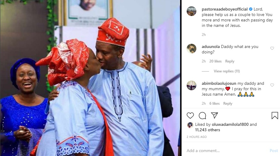 Pastor Adeboye shares throwback photo of himself and his wife kissing passionately to celebrate Valentine