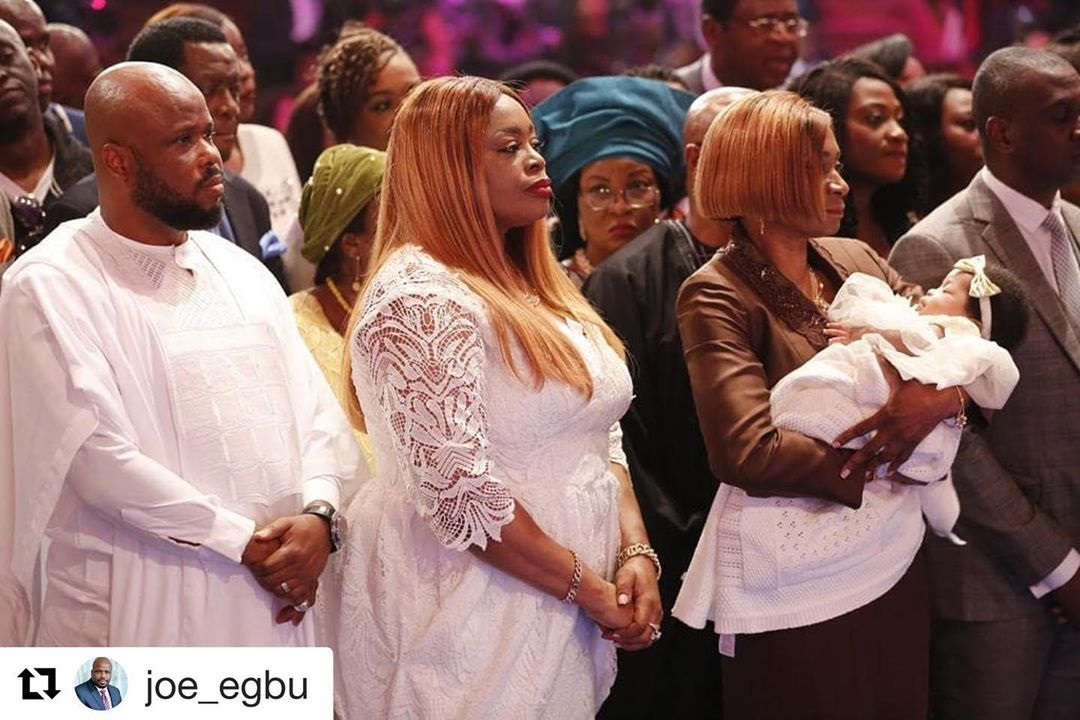 Gospel Singer, Sinach and her husband dedicate their child in church during mid-week service