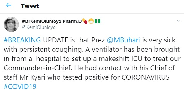 """""""Buhari is very sick with persistent coughing"""""""