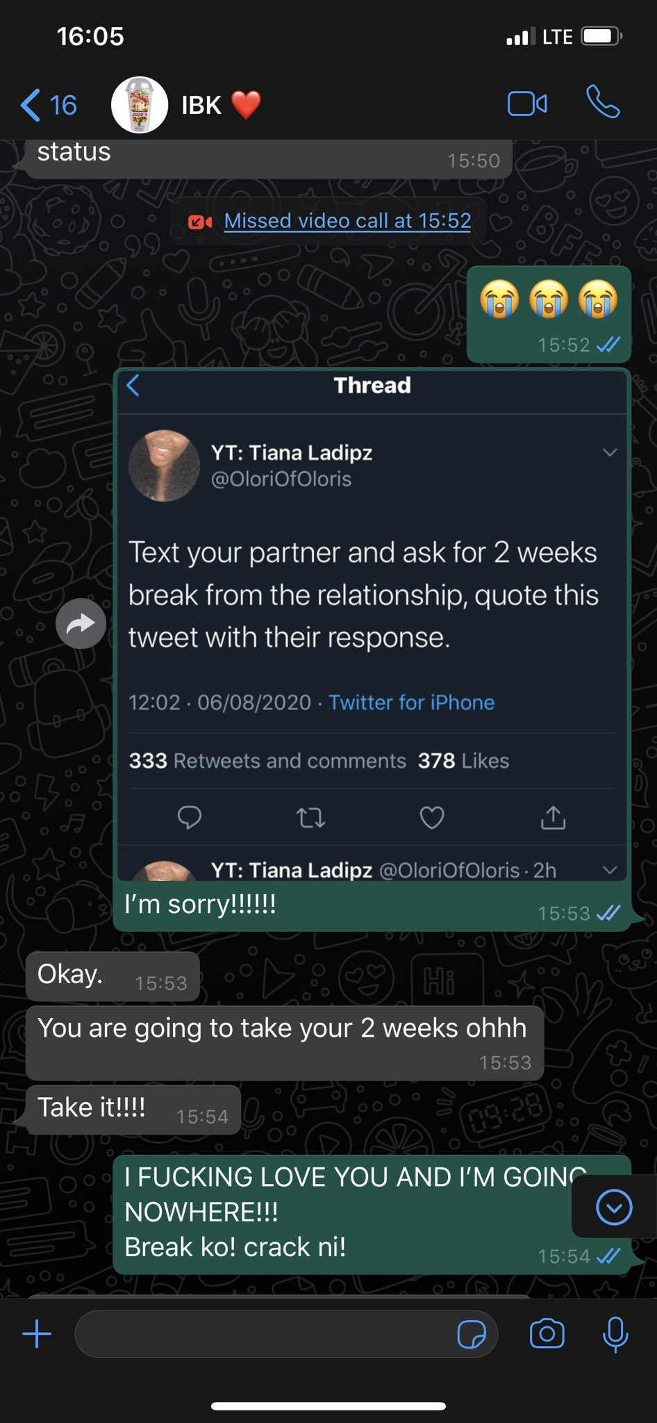 """Hilarious screenshots of people pranking their partners by saying they need a """"two-weeks"""" break 28"""