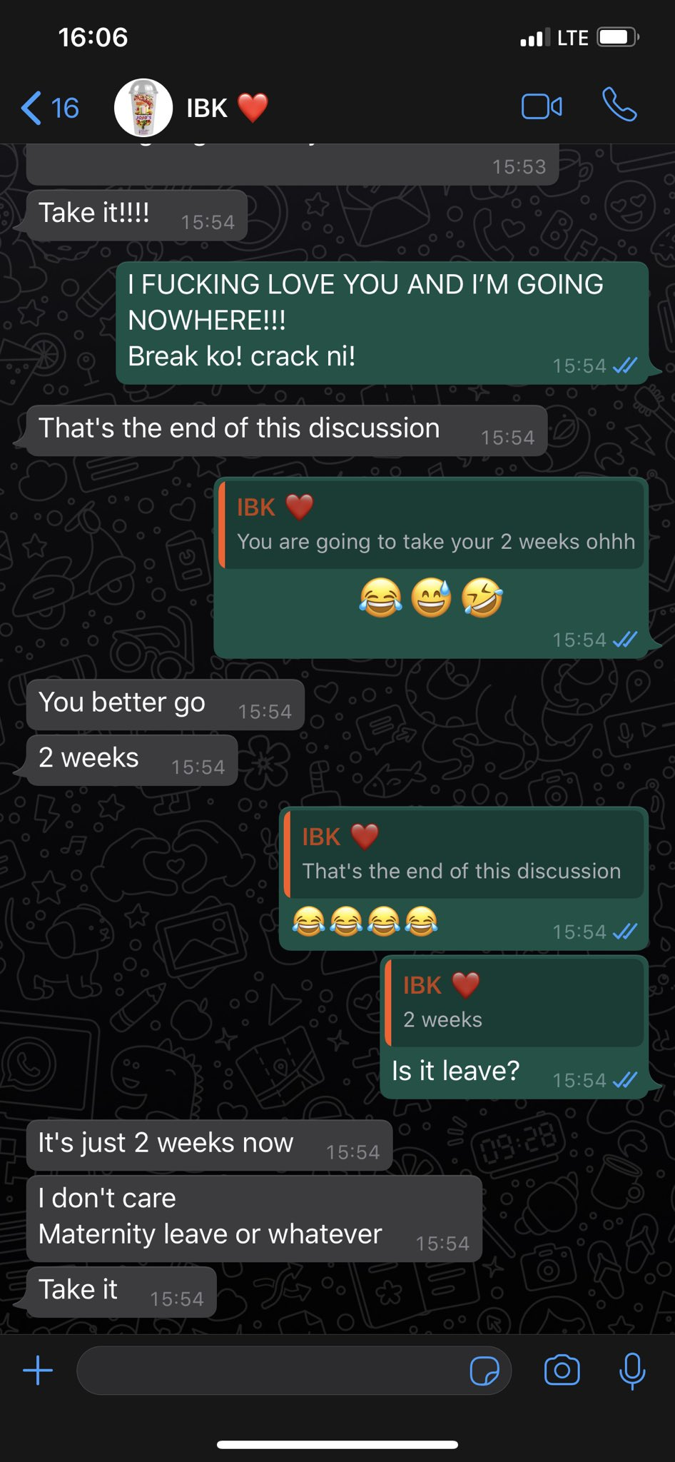 """Hilarious screenshots of people pranking their partners by saying they need a """"two-weeks"""" break 29"""