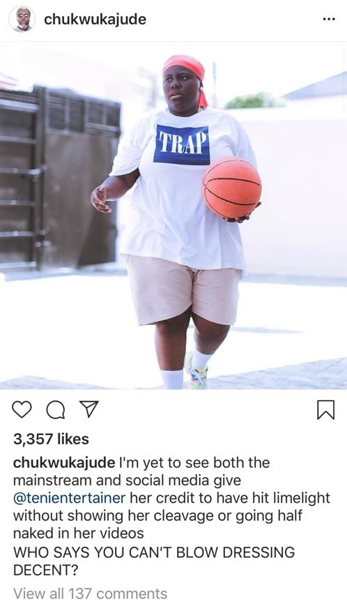 Actor, Jude praises singer, Teni for not going naked to be relevant