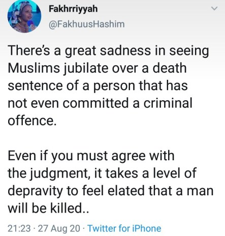 It's sadden,Muslim lady condemn and oppose death sentence of a Kano singer who was sentence to death by sharia court in Kano.