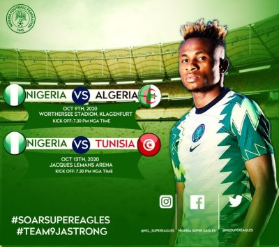 Sport: Friendly match between Nigeria vs Algeria gets new venue