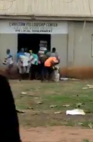 Covid-19: Ogun State residents discover palliatives inside a church (Video)