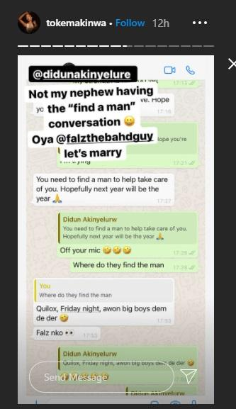 """""""Falz let's marry"""" - Toke Makinwa says after her nephew asked her to 'find a man'"""