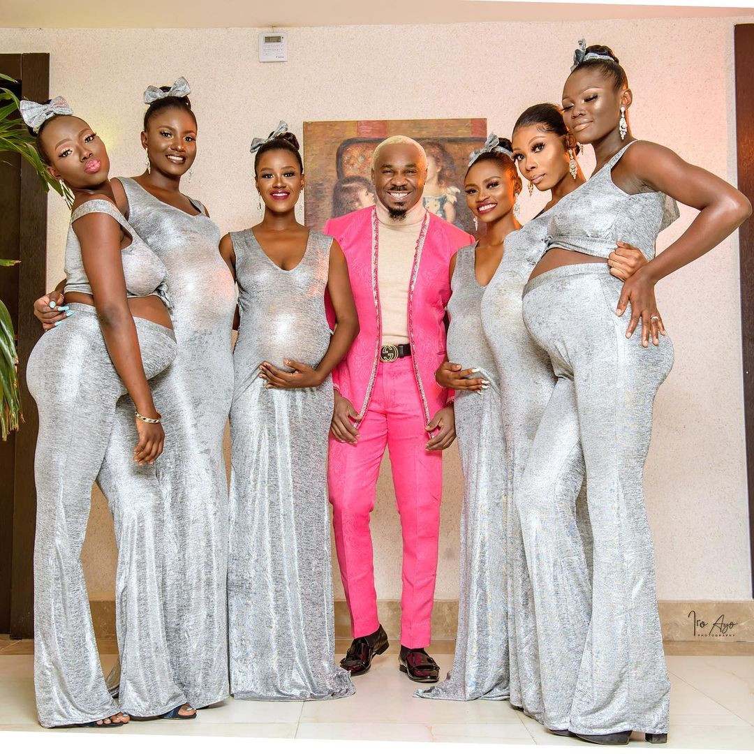 Pretty Mike attends Williams Uchemba's wedding with an entourage of heavily pregnant women. (Video)