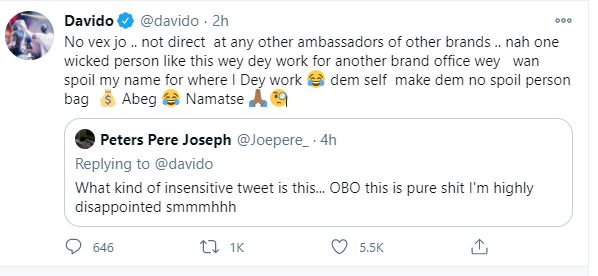 Davido apologises to fan who expressed disappointment over his tweet