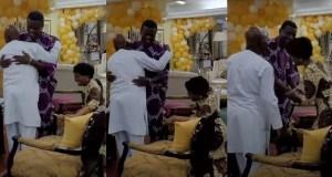 Bishop Oyedepo's wife kneeling