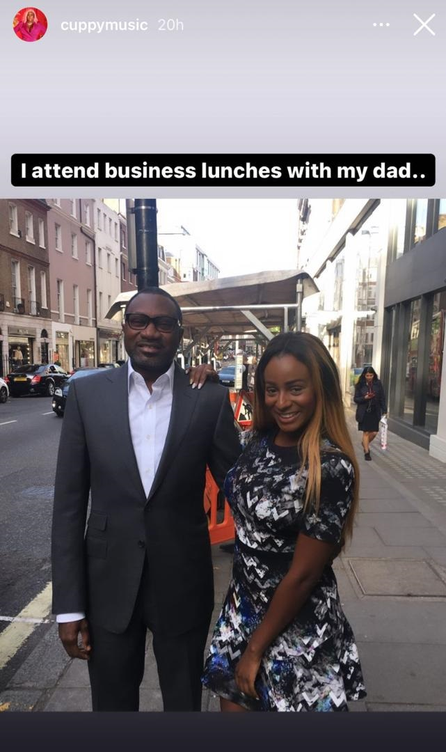 """""""I share messages from guys with my Dad"""" – DJ Cuppy shares long list of things she does with her billionaire father Femi Otedola (Photo)"""