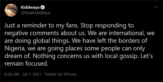 Kiddwaya tells fans