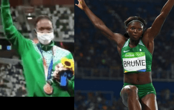 Nigerias Ese Brume receives her Bronze medal after finishing third