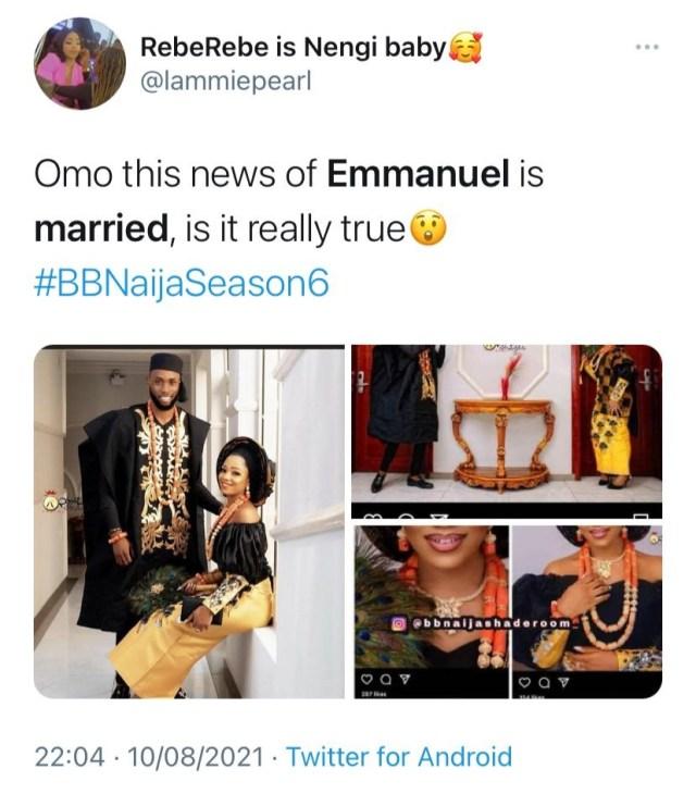 """#BBNaija 2021: """"He's not married"""" - Emmanuel's Instagram handler refutes Rumours"""