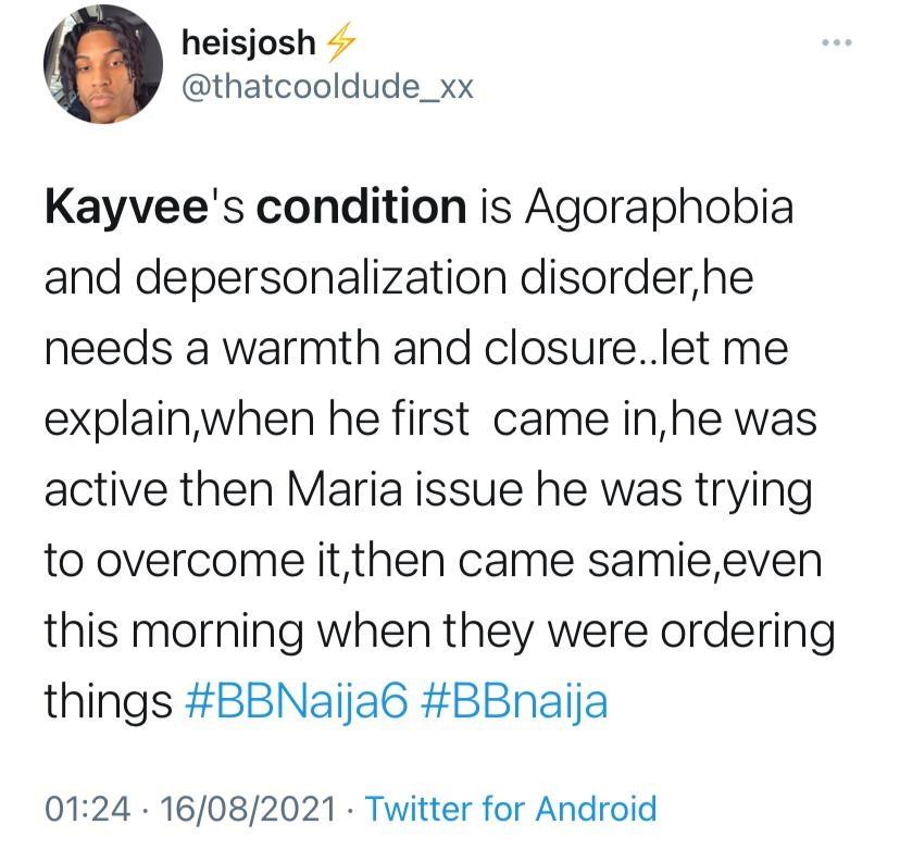Kayvee BBNaija health