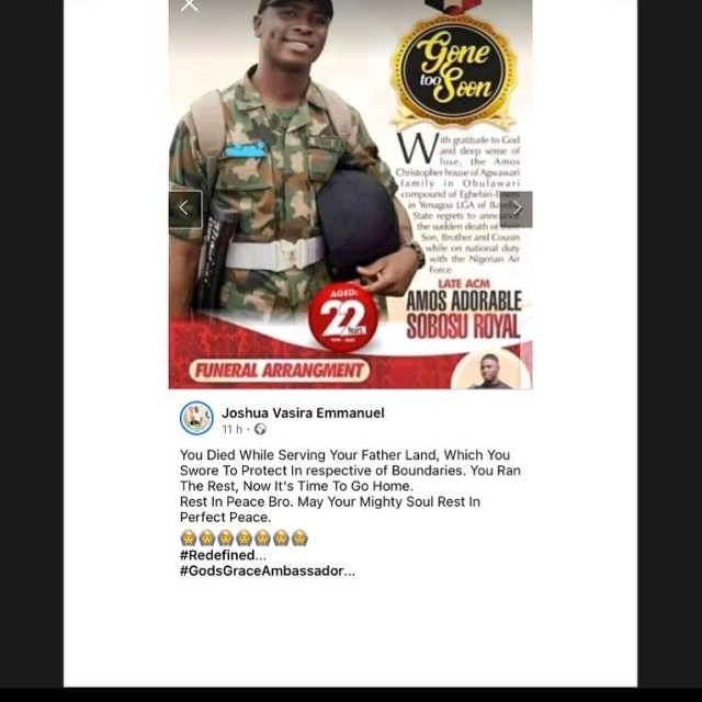 22-year-old soldier killed hours after motivating school pupils in the North-East (Video)