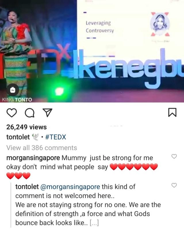 Tonto Dikeh tells fan