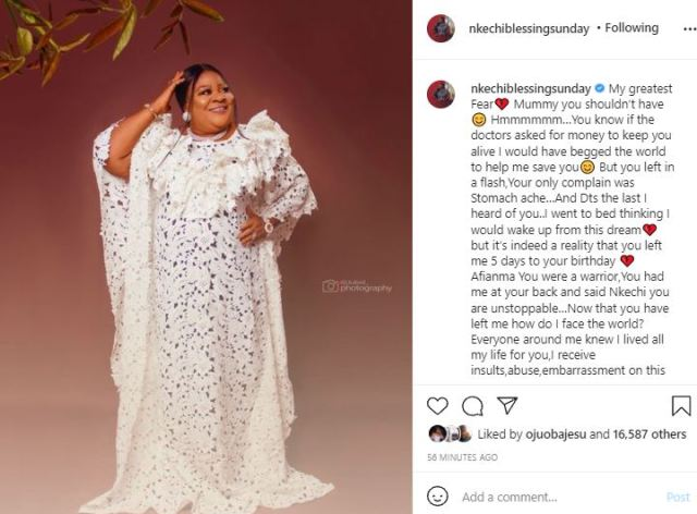 """""""You couldn't even wait to see it"""" - Actress, Nkechi Blessing heartbroken as she reveals she was building a house for her late mum as birthday gift"""