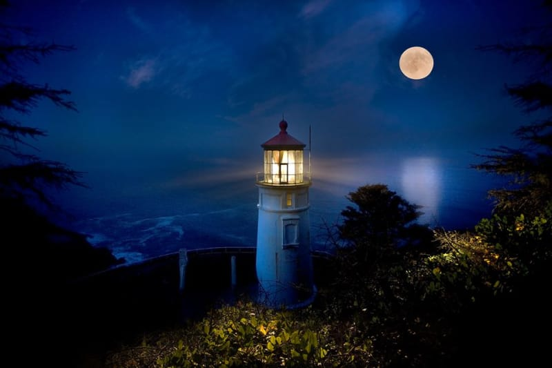 Heceta Lighthouse Moon by Curt Peters, Yachats, Florence, Oregon