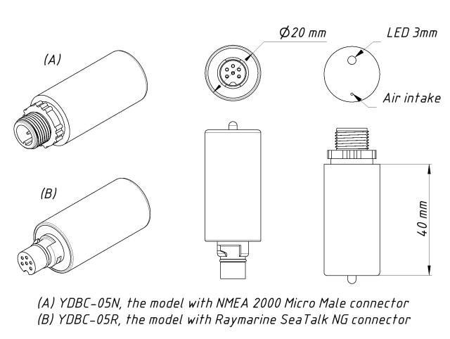 Drawing of YDBC-05N and YDBC-05R models of Digital Barometer