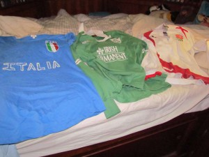 A selection of rugby shirts for the last day of Six Nations