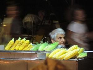 The corn on the cob lady