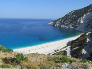 The tantalising view of Myrtos beach, still a long way down