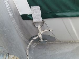 D-ring patches used to anchor the covers on the inside of the dinghy