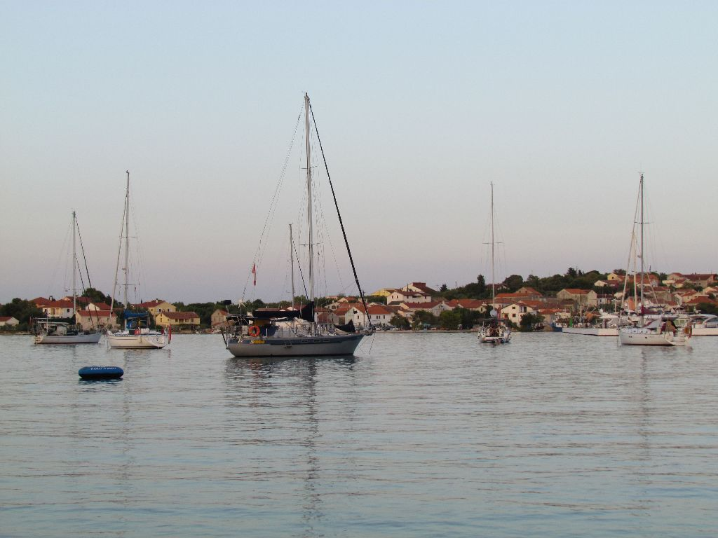 Olive Bay anchorage and the four MdR boats