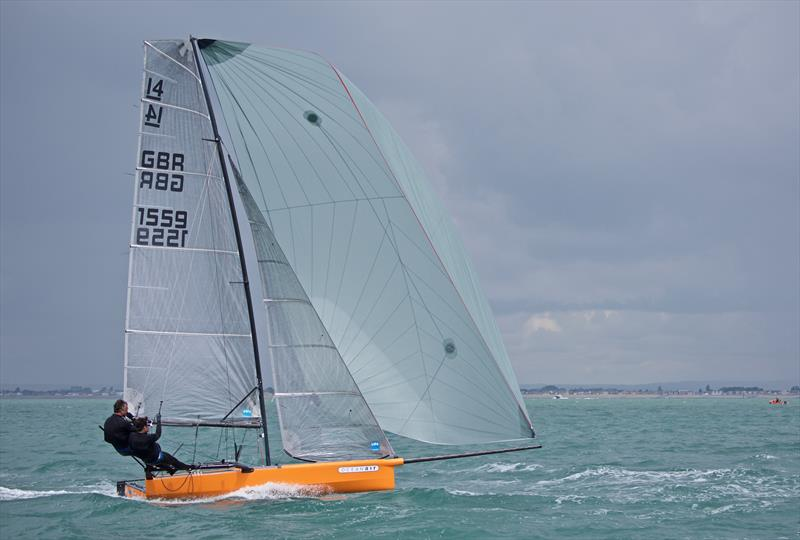 Andy & Tom Partington on International 14 Prince of Wales Cup Week day 1 - photo © Mary Pudney