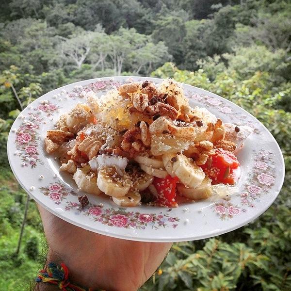 Healthy tropical power fruit salad