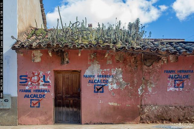 Samaipata adobe house with cactus roof