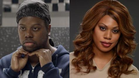 M. Lamar as Marcus Burset and Laverne Cox as Sophia Burset in OITNB.