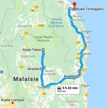 Trajet bus Taman Negara à Kuala Terengganu