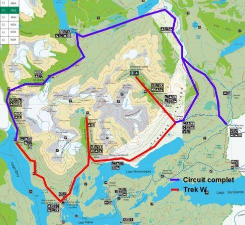 Carte du Parc Torres del Paine trek du W