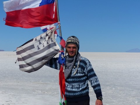 Bolivie Salar de Uyuni drapeau bretagne