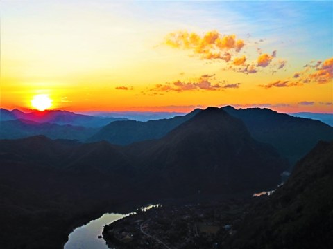 Laos Nong Khiaw viewpoint coucher de soleil