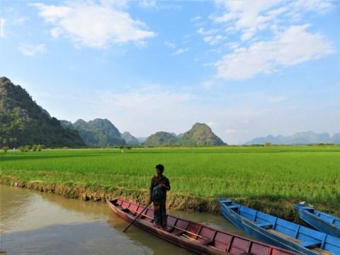 Myanmar Hpa-An grotte Saddan rizières